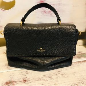 Kate Spade Pebbled Leather Black Satchel Lock